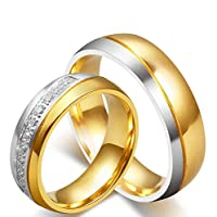 18K Gold Plated Titanium Steel Shining Diamond Wedding Gift Love Couple Ring Set Female us7 Male us9 cr16-1