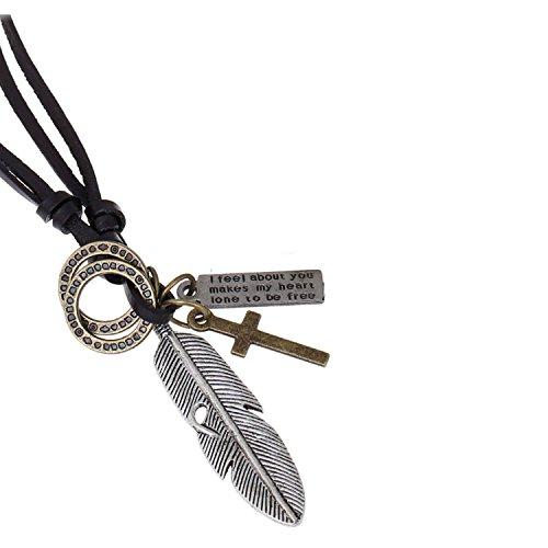 Injoy Jewelry Vintage Engel Feder Anhaenger Lederband Halskette Einstellbare Leder Anhaenger Halskette, Alte Silberfarbe -