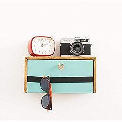Mesita de noche mini colgante de pared flotante. Estante con cajón de madera estilo rústico