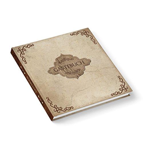 Auf Alt gemachtes Hochzeits-Gästebuch im Vintage Nostalgie Stil in braun beige marmoriert, quadratisch 21 x 21 cm,164 leeren Seiten, 115g Papier. Perfekt für alle Feiern wie Hochzeit oder Geburtstag