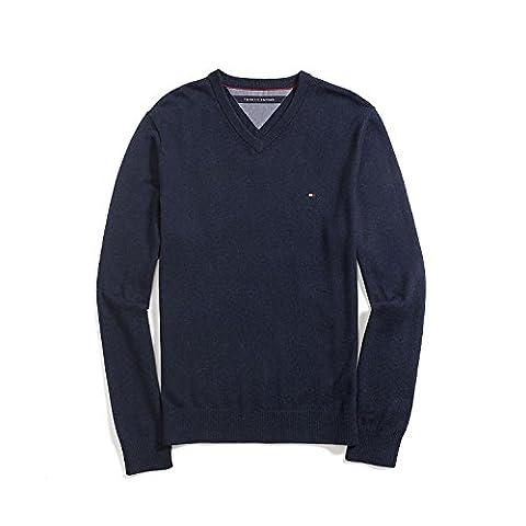 Tommy Hilfiger Herren V Neck Pima Cotton / Cashmere Pullover dunkelblau Größe L