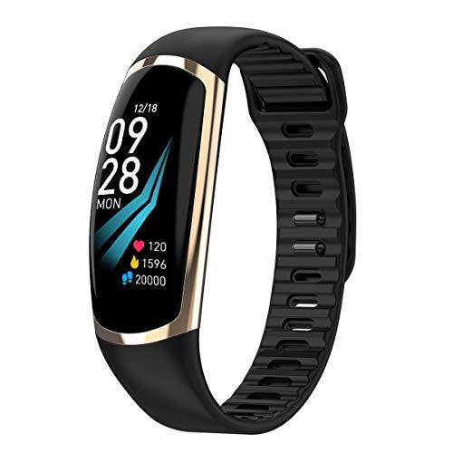 Fitness Armband,Elospy Fitness Tracker mit Pulsmesser Blutdruckmessung, 0.96 Zoll Farbbildschirm Wasserdicht Smartwatch Schrittzähler Uhr Smart Watch für Android iOS Damen Herren