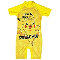 Get Wivvit Boys Pokemon Pikachu Costume Sunsafe All in One Surf Swimsuit Sizes from 1.5 to 5 Years Yellow