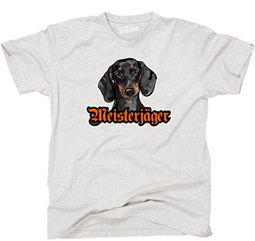 Siviwonder Unisex T-Shirt MEISTERJÄGER Dackel Dachshund Hund Wilsigns Hunde Ash