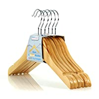HANGERWORLD 12 Childrens 30cm Natural Wooden Top Coat Baby Toddler Clothes Hangers with Shoulder Notches