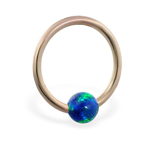 14K Gold Captive Bead Ring mit Blau Grün synthetischer Opal Ball, Gauge: 16(1.2mm)