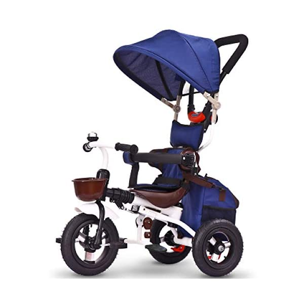 BGHKFF 4 In 1 Childrens Folding Tricycle 5 Months To 5 Years Silent Blockable Rear Wheels Childrens Tricycles Folding Sun Canopy Push Handle Child Trike Maximum Weight 60 Kg,Blue BGHKFF ★ 4-in-1 multi-function: convertible into stroller and tricycle. Remove the guardrail and awning as a tricycle. ★Material: Thick carbon steel, suitable for children from 5 months to 5 years old, maximum weight: 60 kg ★ Tricycle foldable, space saving, easy to carry, great gift: perfect gift for children's birthday or Christmas. Easy to assemble When you don't use it, you can fold it and store it in any corner. 1