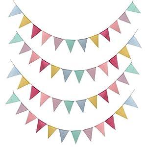 SERWOO 4 Stück Wimpelkette Wimpel Banner Wimpel Girlande draußen Outdoor Dekoration für Hochzeit Party Weihnachten Geburtstagsfeier (4.2M 12Pcs Wimpel/Jede Girlande)