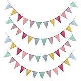 SERWOO 48 Drapeaux de Triangle en Toile de Jute Multicolore, 4 x Guirlandes de Fanions Bannière Banderole Triangle Vintage Decoration pour Cérémonie Mariage (4,2M/Chaque Guirlande)