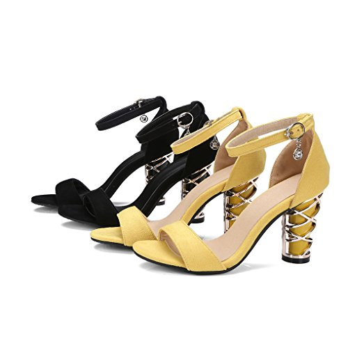 f503c3f9cbd3c7 Oaleen Sandales Femme Bride Cheville Bout Ouvert Chaussures Eté Talon Haut  Bloc Soirée
