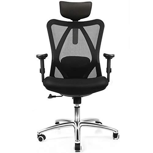 Mfavour sedia ufficio,sedia ergonomica per ufficio,poltrona con puleggia silenziosa,sedia regolabile,confortevole a forma medie schienale,alleviare la fatica,traspirante
