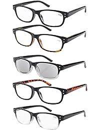 Eyekepper Gafas de lectura retro 5-pack con bisagras de resorte gafas de sol de lectura incluido +2.50