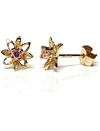 Or 9 carats-Oxyde de Zirconium Rose-Boucles d'oreilles clous en forme de fleur