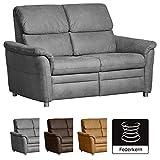 Cavadore 2-Sitzer Chalsay / mit Federkern / moderne 2er Couch / Größe: 145 x 94 x 92 cm (BxHxT) / Farbe: Grau (argent)