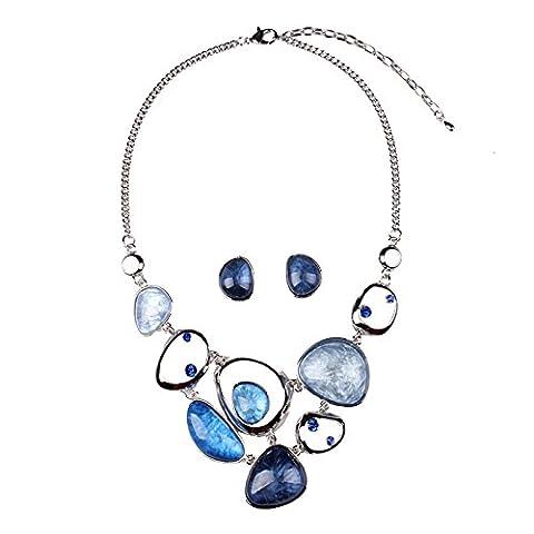XZX Colored gemstone cut irregular short necklace earrings , blue