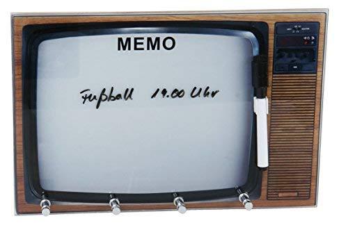 Retro Schlüsselbrett in TV Optik - Glas Memoboard - Schlüsselleiste mit 3 Haken - Memo Wand Tafel Board