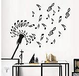 Kreatives Design Löwenzahn Blumen Blume Wandtattoos Musik Noten Wandaufkleber Diy Vinyl Aufkleber Kinder Wohnkultur Wandkunst 62,5 Cm X 58 Cm