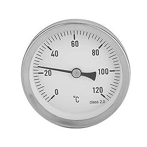 VBESTLIFE Aluminium Horizontalthermometer Thermograph Wassertemperaturprüfgerät Messuhr,geeignet für heißes Wasser, Heizung, Tankmessung usw.