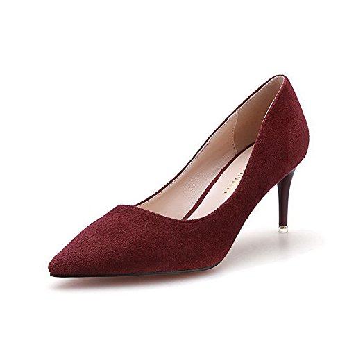 De Estilete Sapatos Aalardom Nobuk Apontado Senhoras Bombas Movimento De Tinto Dedo Para Vinho p85nq4