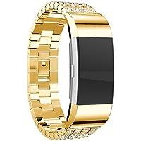 TopTen acero inoxidable correa de banda de reloj pulsera ajustable, 2accesorios pulsera de repuesto para Fitbit Charge Muñequera fitness, mujer, color D, tamaño medium