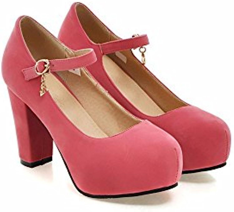 Las señoras de terciopelo mate simple y superficial, boca, impermeable, zapatos, zapatos de tacón,Rosa,39