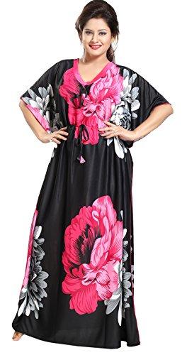 Noty™- Women's Kaftan Nighty - Floral Print (Rani-Black)