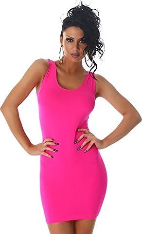 Damen Minikleid Kleid Shirt Longtop Longshirt Spitze Transparent Träger Rundhals Top Mini Cocktailkleid Partykleid 34/36 Pink
