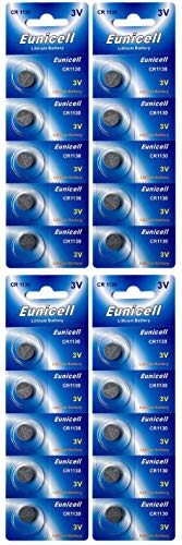 Eunicell 20 x CR1130 3V Lithium Knopfzelle 48 mAh (4 Blistercard a 5 Batterien) EINWEG