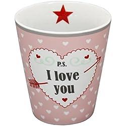 KRASILNIKOFF Happy Mugs Kaffee-Becher/Tasse Latte Cup mehrere Farben und Motive (HM70 P.S... I Love You)