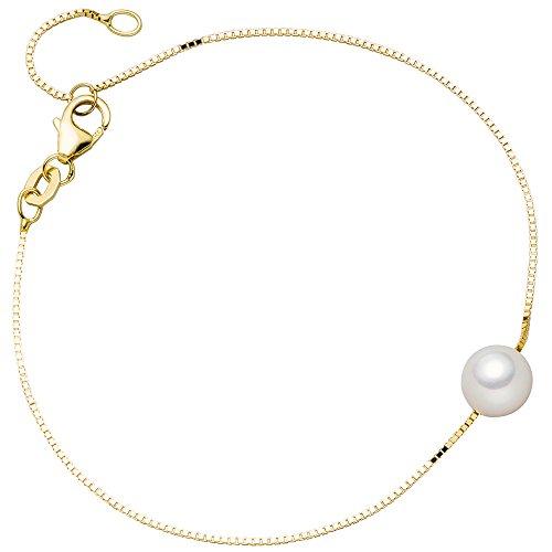 Perlenarmband Armband Armschmuck mit Akoya-Perle 375 Gold Gelbgold 20cm