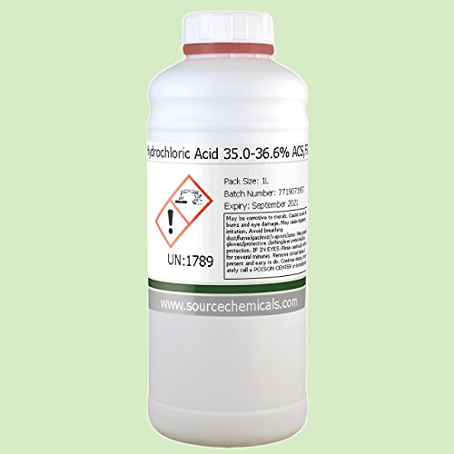 Hydrochloric Acid (Muriatic Acid) 35 0-36 6% ACS,FG 1 Litre (1L) Including  Courier Delivery