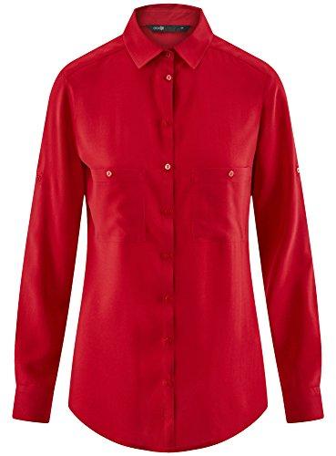 oodji Ultra Damen Viskose-Bluse Basic mit Taschen Rot (4500N)