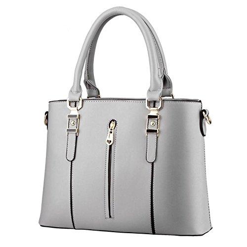 HQYSS Damen-handtaschen PU Leder Spring Modelle OL s weibliche Vertikalschnitt Reißverschluss Schulter Messenger Tasche gray