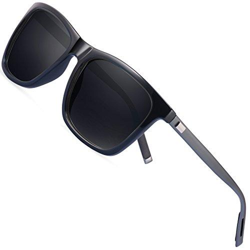 polarisiertes Fahren der Sonnenbrillemänner der Frauen - FEIDU 100% UV400 Schutz für Golf, Fahren, Sport im Freien, Fischen (black-gun, 50)
