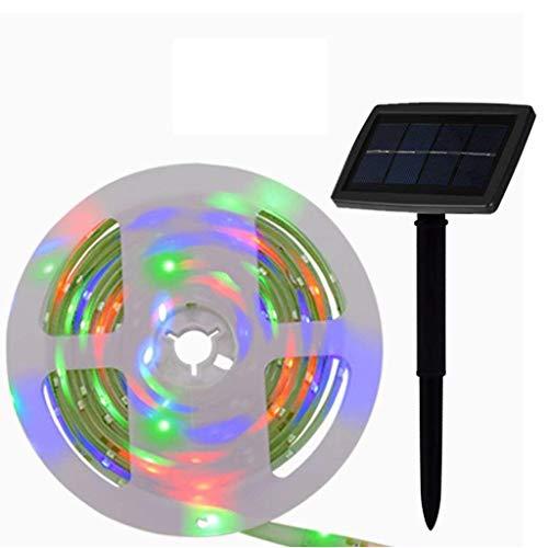 LED Stripes 5m Solarbetrieben,150 LED Streifenlichter,Lichterkette,Band,Streifen,LED Lichtleiste,2 Modi,Flexibel und Schneidbar,Selbstklebend für außen Zaun Wand Schwimmbad Zelt Party Dekor-Mehrfarbig -