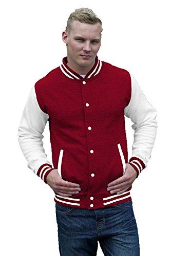 Felpa College Uomo Giacca Baseball Awdis Varsity Jacket Maniche A Contrasto, Colore: Rosso Bianco, Taglia: S