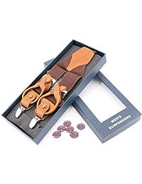 Herren Schaltflächen Hosenträger/3 Starken Metall Clips - Elastische und verstellbare Länge Y Form mit 6 Tasten für herren