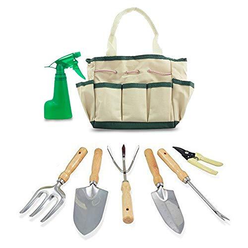 GardenHOME 7 herramientas de jardín Con bolsa de lona . Regalo perfecto para los amantes de la jardineria. Paleta