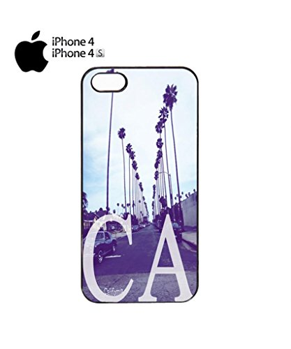 California CA Palm Springs Trees Retro Vintage Cool Funny Hipster Swag Mobile Phone Case Back Cover Hülle Weiß Schwarz for iPhone 5&5s White Schwarz