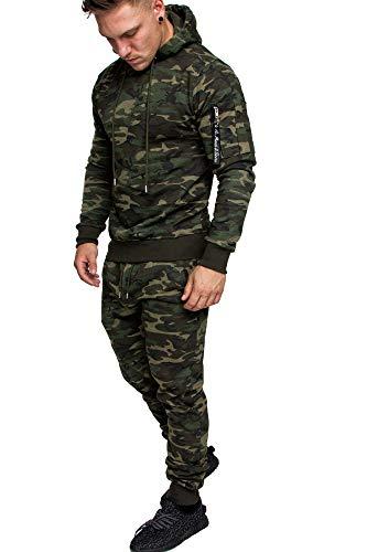 Amaci&Sons Herren Cargo Stil Sportanzug Jogginganzug Trainingsanzug Sporthose+Hoodie 1003 Camouflage Khaki XXL