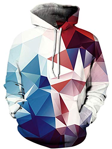 Ocean Plus Jungen 3D Kapuzenpullover Spaß Sweatshirt Hoodie mit Kängurutasche Sportlich Digitaldruck Pullover mit Kapuze (XXL (Körpergröße: 145-155cm), Rot und blau Geometrie)