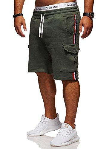 Ombre-Eightt Herren Sweat-Shorts Cargo Bermuda Chino Kurze Hose J-110 [Khaki, L] (Chino Khaki Shorts)