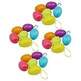 COM-FOUR® 24x Huevos de Pascua con suspensión de cinta de seda, en diferentes colores pastel, 6cm (24 piezas - pastel multicolor)