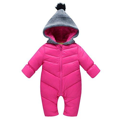 KVbaby, Tuta per neonati/bambini, da neve, antivento, body pagliaccetto, con cappuccio, invernale, tuta da neve, piumino caldo rosa Rosa L(100)/12-18 Monate