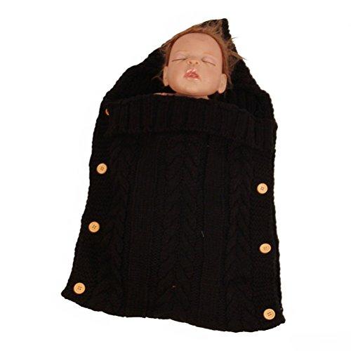 OULII Neugeborene Baby Wrap Swaddle Decke Kleinkind Knit Schlafsack Sack Stroller Decken Foto Stützen für 0-12 Monat Baby (Schwarz)