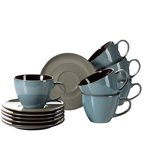 Mäser 931464 Serie Scuro Cappuccino-Tassen-Set aus Keramik, Milchkaffeetassen mit Untertassen für 6 Personen, 450 ml, Steinzeug