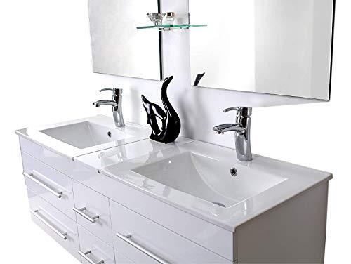 Espace-Insell Ensemble Salle de Bain Double Vasque laqué Blanc 140 cm Haut de Gamme - Sam Blanc - 2 Miroirs - 2 Etagères - Meuble sous Vasque
