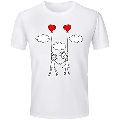 Mens 100% Soft Cotton T-shirt Couple Boy Girl Print Short Sleeve Cartoon Tees