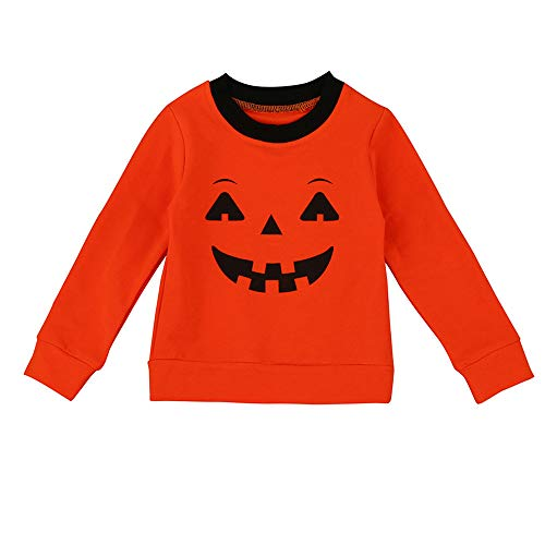 Riou Kinder Langarm Halloween Kostüm Top Set Baby Kleidung Set Halloween Familie Kleidung Mutter Eltern-Kind-T-Shirt Tops Bluse Passende Outfit (Orange, 100)
