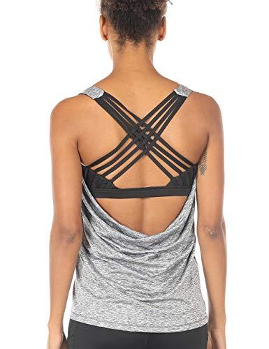 icyzone Damen Sport Tops mit Integriertem BH - 2 in 1 Yoga Gym Shirt Fitness Training Tanktop (L, Grey Melange)
